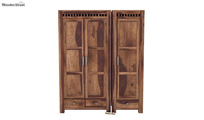 Adolph 3 Door Multi-Utility Wardrobe (Teak Finish)-3
