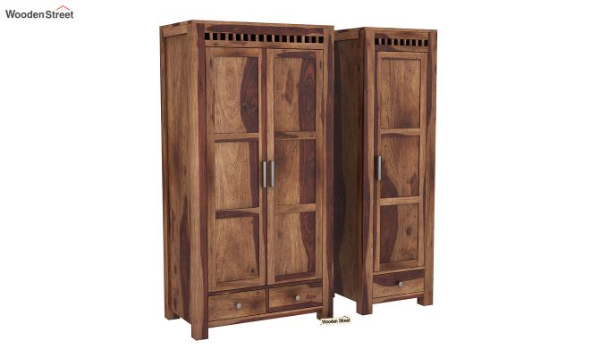 Adolph 3 Door Multi-Utility Wardrobe (Teak Finish)-4