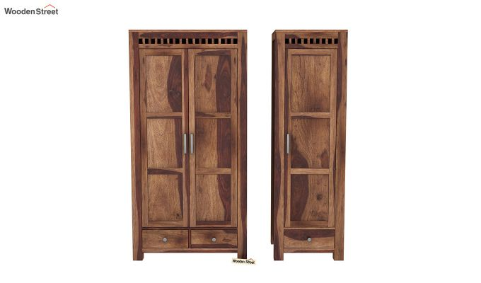 Adolph 3 Door Multi-Utility Wardrobe (Teak Finish)-5