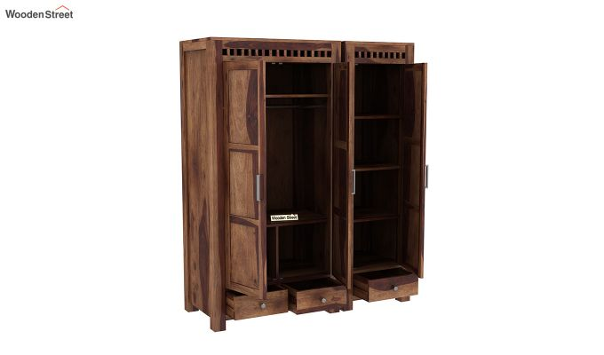 Adolph 3 Door Multi-Utility Wardrobe (Teak Finish)-7