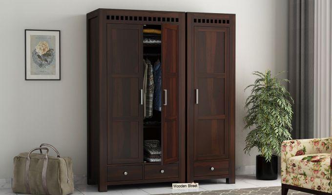 Adolph 3 Door Multi-Utility Wardrobe (Walnut Finish)-1