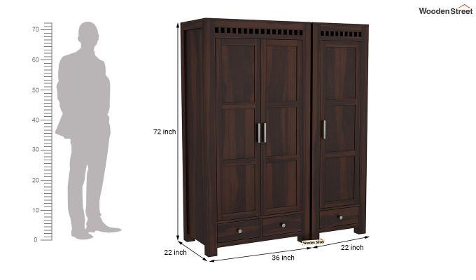 Adolph 3 Door Multi-Utility Wardrobe (Walnut Finish)-8