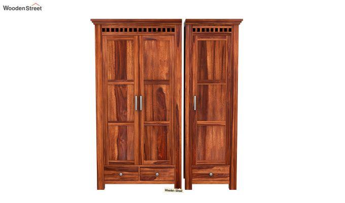 Adolph 3 Door Multi-Utility Wardrobe (Honey Finish)-4