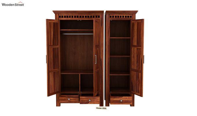 Adolph 3 Door Multi-Utility Wardrobe (Honey Finish)-9