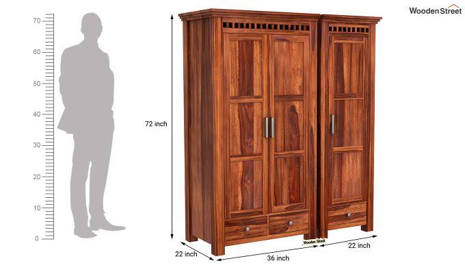 Adolph 3 Door Multi-Utility Wardrobe (Honey Finish)-10