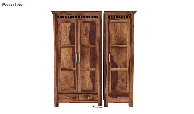 Adolph 3 Door Multi-Utility Wardrobe (Teak Finish)-4