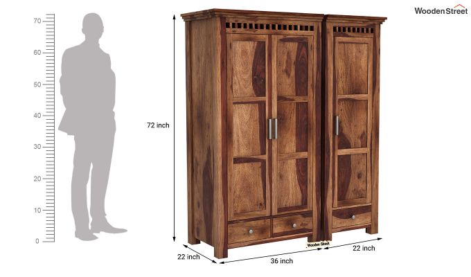Adolph 3 Door Multi-Utility Wardrobe (Teak Finish)-10