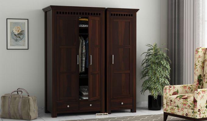 Adolph 3 Door Multi-Utility Wardrobe (Walnut Finish)-2