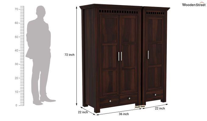 Adolph 3 Door Multi-Utility Wardrobe (Walnut Finish)-10