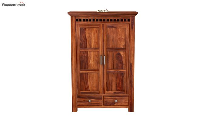 Adolph Medium Size Wardrobe (Honey Finish)-3
