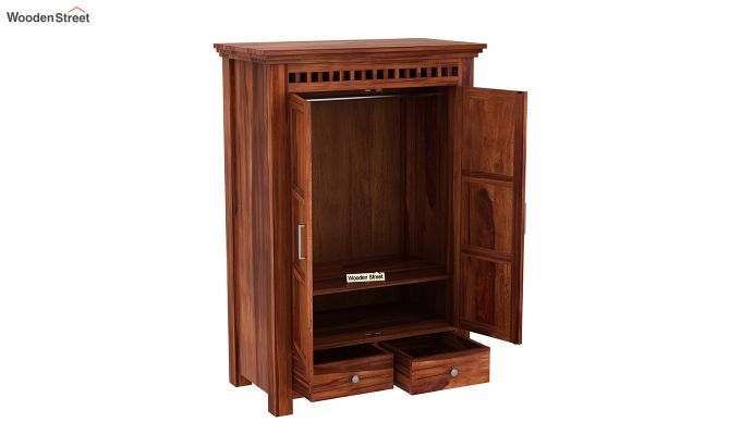 Adolph Medium Size Wardrobe (Honey Finish)-4