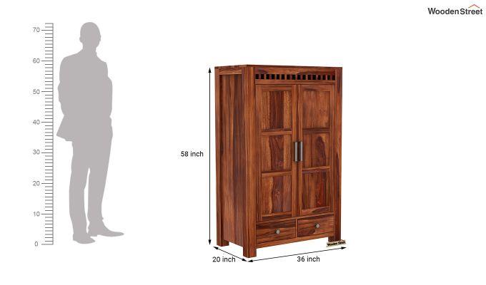 Adolph Medium Size Wardrobe (Honey Finish)-6