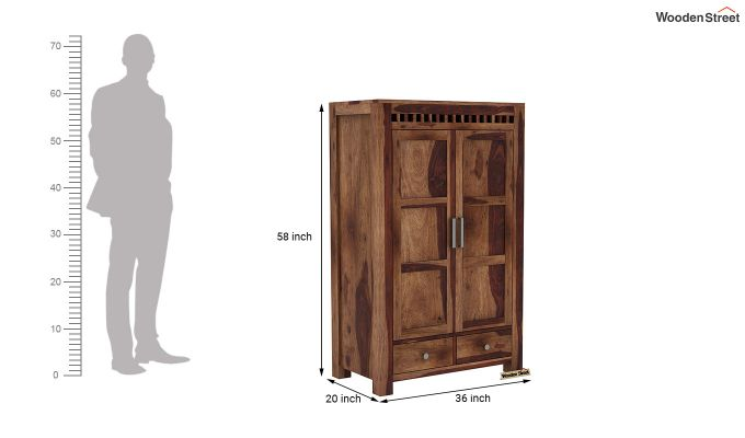 Adolph Medium Size Wardrobe (Teak Finish)-6