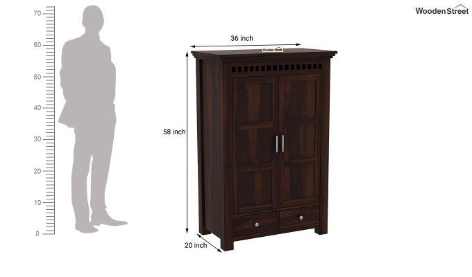 Adolph Medium Size Wardrobe (Walnut Finish)-6