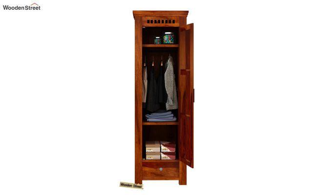 Adolph 1 Door Multi-Utility Wardrobe (Honey Finish)-4