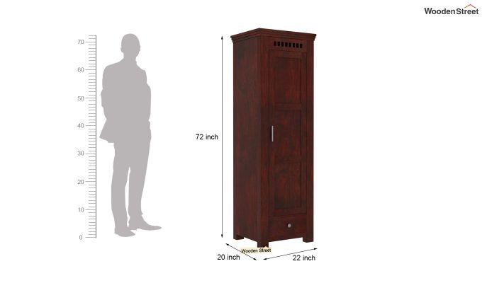 Adolph 1 Door Multi-Utility Wardrobe (Mahogany Finish)-5
