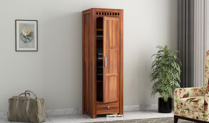 Adolph 1 Door Multi-Utility Wardrobe (Honey Finish)-1