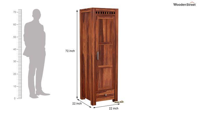 Adolph 1 Door Multi-Utility Wardrobe (Honey Finish)-6
