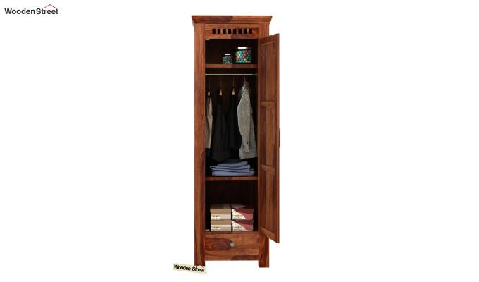 Adolph 1 Door Multi-Utility Wardrobe (Teak Finish)-3