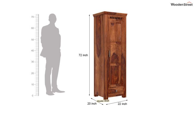 Adolph 1 Door Multi-Utility Wardrobe (Teak Finish)-5
