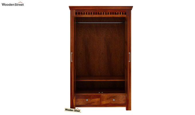 Adolph Medium Size Wardrobe (Honey Finish)-5