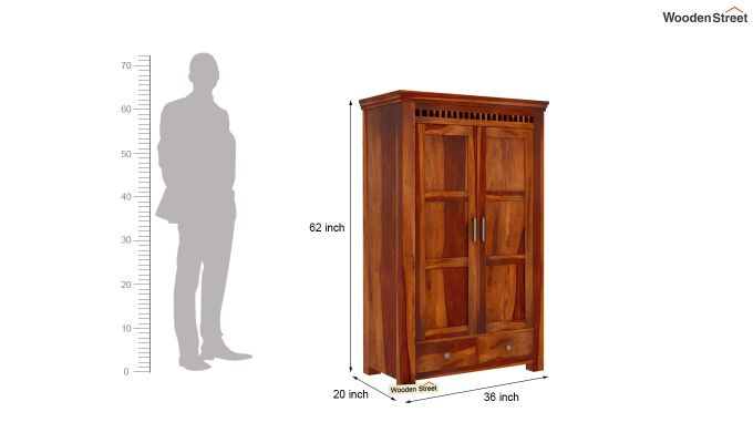 Adolph Medium Size Wardrobe (Honey Finish)-6