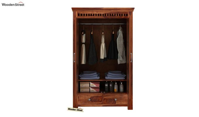 Adolph Medium Size Wardrobe (Teak Finish)-3