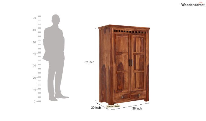 Adolph Medium Size Wardrobe (Teak Finish)-5