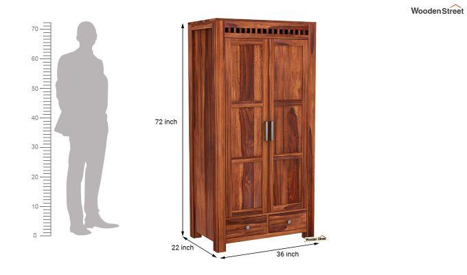 Adolph 2 Door Multi Utility Wardrobe (Honey Finish)-6