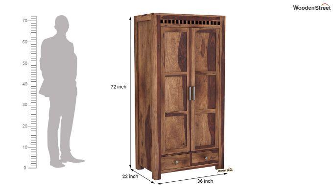 Adolph 2 Door Multi Utility Wardrobe (Teak Finish)-6