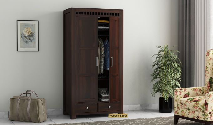 Adolph 2 Door Multi Utility Wardrobe (Walnut Finish)-1