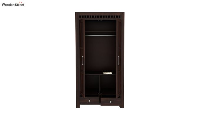 Adolph 2 Door Multi Utility Wardrobe (Walnut Finish)-5