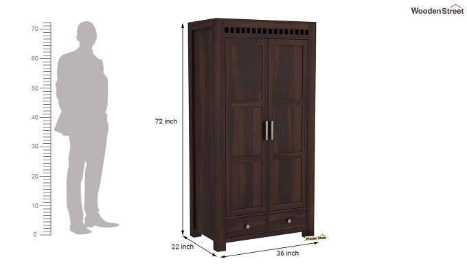 Adolph 2 Door Multi Utility Wardrobe (Walnut Finish)-6