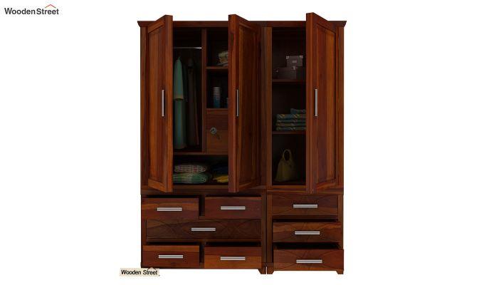 Allan 3 Door Multi-Utility Wardrobe (Honey Finish)-6