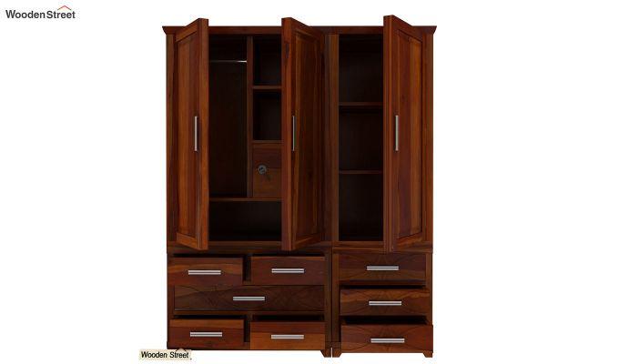 Allan 3 Door Multi-Utility Wardrobe (Honey Finish)-7