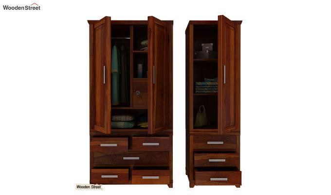 Allan 3 Door Multi-Utility Wardrobe (Honey Finish)-8