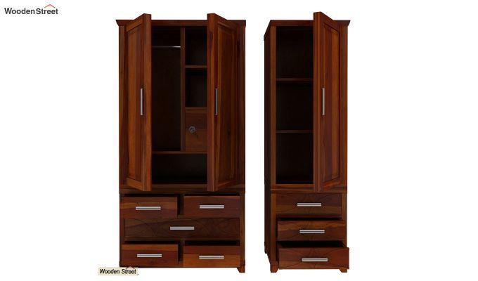 Allan 3 Door Multi-Utility Wardrobe (Honey Finish)-9