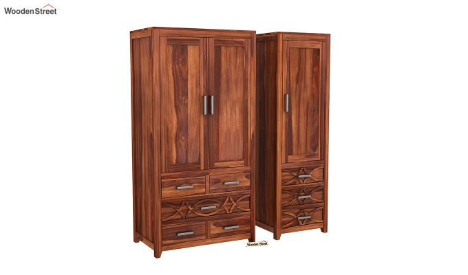 Allan 3 Door Multi-Utility Wardrobe (Honey Finish)-4