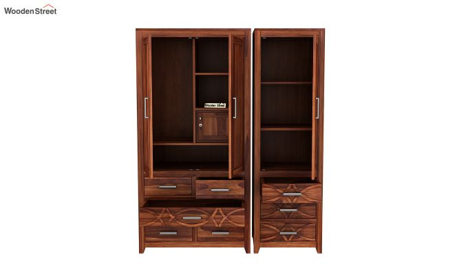 Allan 3 Door Multi-Utility Wardrobe (Honey Finish)-7