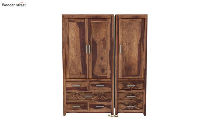 Allan 3 Door Multi-Utility Wardrobe (Teak Finish)-3