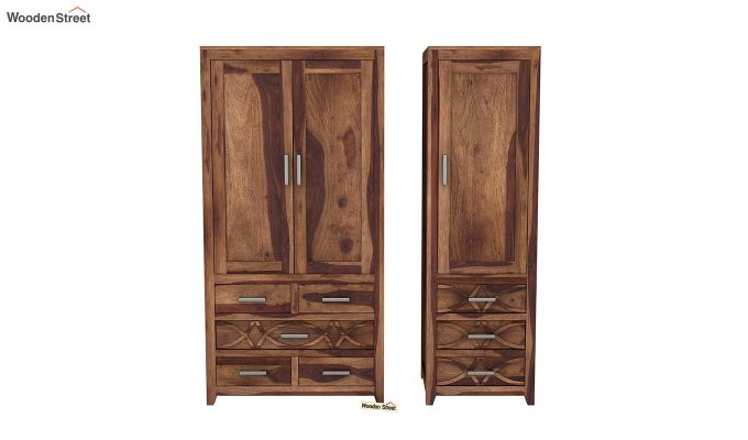 Allan 3 Door Multi-Utility Wardrobe (Teak Finish)-5
