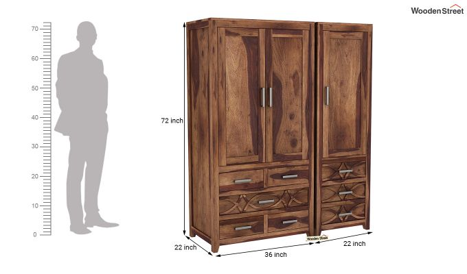 Allan 3 Door Multi-Utility Wardrobe (Teak Finish)-8