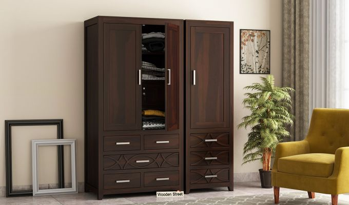 Allan 3 Door Multi-Utility Wardrobe (Walnut Finish)-1
