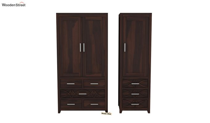 Allan 3 Door Multi-Utility Wardrobe (Walnut Finish)-5
