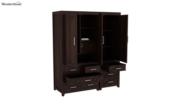 Allan 3 Door Multi-Utility Wardrobe (Walnut Finish)-6