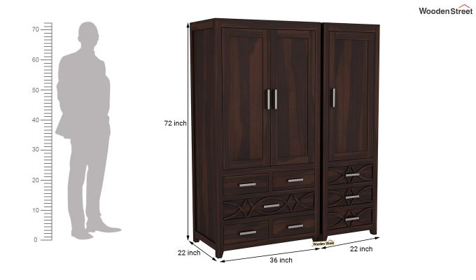 Allan 3 Door Multi-Utility Wardrobe (Walnut Finish)-8