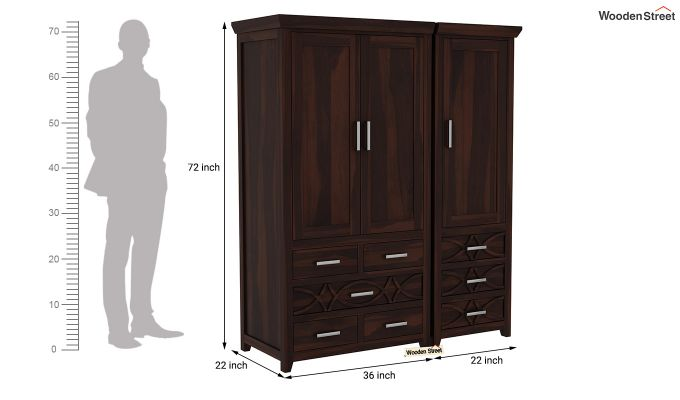 Allan 3 Door Multi-Utility Wardrobe (Walnut Finish)-10