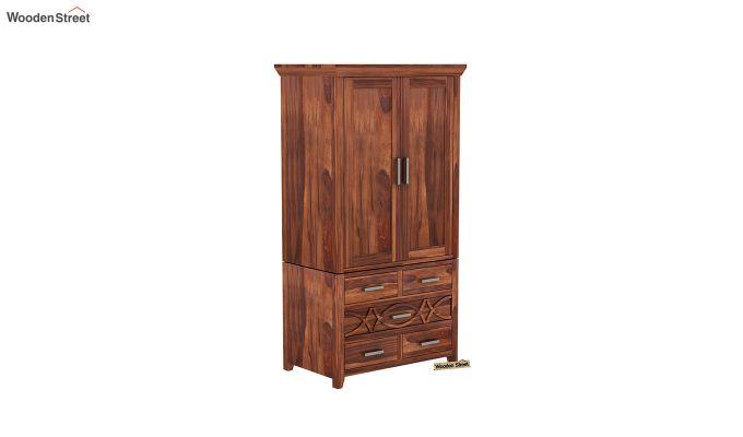 Allan 2 Door Multi-Utility Wardrobe (Honey Finish)-2