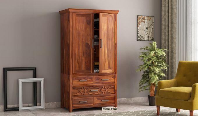 Allan 2 Door Multi-Utility Wardrobe (Honey Finish)-1