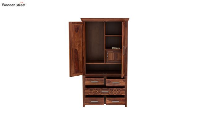 Allan 2 Door Multi-Utility Wardrobe (Honey Finish)-5